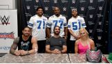 WWE Superstars Roman Reigns, Seth Rollins and Charlotte joined Dallas Cowboy players La'El Collins, Tyron Smith and Kyle Wilber to meet WWE fans for a private Make-A-Wish Signing at Dave & Buster's.
