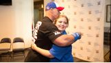 John Cena meets Samantha, 15, from Make-A-Wish in New Orleans.
