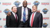 Titus O'Neil poses with NHL Commissioner Gary Bettman and Tampa Bay Lightning owner Jeff Vinik at the 2018 NHL All-Star Declaration of Principles Summit.