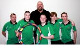 Big Show and Special Olympics Ireland athletes pose with the Circle of Inclusion.