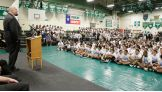 Big Show greets 650 seventh-graders at Bedichek Middle School in Austin, Texas.