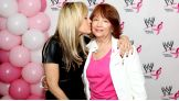 Lilian Garcia gives her mom - a breast cancer survivor - a smooch.