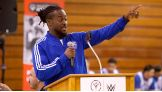 Kofi Kingston kicks off a Special Olympics Unified Basketball Game in Sunnyvale, Calif., during WrestleMania Week.