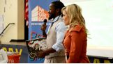 Kofi Kingston and Natalya kick off a Reading Celebration with Pearson Foundation at Kizirian Elementary School in Providence, R.I.