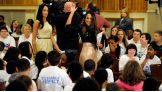 The Bella Twins greet the kids at Central Park International Magnet School in Schenectady, N.Y.