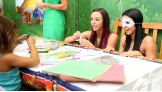 Peyton Royce makes time to participate in activities with kids at the hospital.