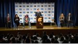 The Miz, Layla and Josh Mathews led a be a STAR anti-bullying rally at the Edwin Markham Intermediate School in Staten Island.