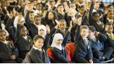 More than 150 students at ARK Globe Academy in Southwark, London, attend the rally.