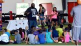 The World's Strongest Man talks to the children at ACTIVATE about being healthy.