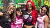 Eva Marie, Cameron and Lilian Garcia visit Knott's Berry Farm with Susan G. Komen honorees.