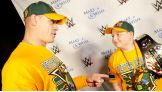 John Cena says hello to Rocco, 8, from Queens, N.Y. Rocco is Cena's 500th wish granted through the organization.