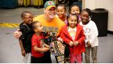 John Cena meets Stephon, left, and his family at Madison Square Garden.