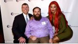 Eva Marie poses with SoldierSocks co-founder Chris Meek and Dan Rose.