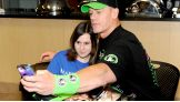 Sarah takes a selfie with her favorite WWE Superstar, John Cena.
