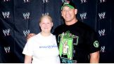 Samantha, 15, meets her favorite WWE Superstar, John Cena, before Raw in Green Bay, Wisc.