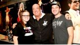 Paul Heyman meets Superstars for Sandy Relief Auction winners Ashlee Newhoff and James Mascarella of New Jersey before WWE Hell in a Cell in Miami.