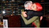 Eva Marie hugs her dad, Lance Corporal Fredric Barry Nelson, after honoring him during her speech at the event.