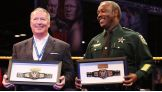 Mayor Dyer and Orange County Sheriff Jerry L. Demings proudly hold their championships.