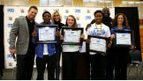 Students in Jacksonville take the Be a STAR pledge alongside The Miz, Charlotte and Mark Henry.