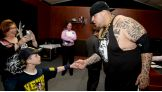 Brodus says hello to the 8-year-old.