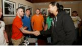 The Shield's Roman Reigns greets U.S. Troops in Riyadh, Saudi Arabia.
