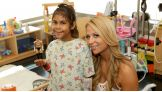 Emma poses with a young patient at Mattel Children's Hospital UCLA.