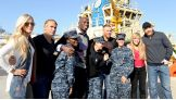 Summer Rae, Tyler Breeze, Titus O'Neil, Heath Slater, Lilian Garcia and Sheamus join sailors at Naval Station Mayport's harbor.