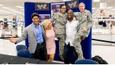 The trio signed autographs and posed for pictures with the soldiers and their families.