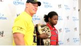 Percy, 13, meets his favorite WWE Superstar before Raw in Tulsa, Okla.
