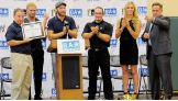 Tyler Breeze, Sami Zayn, NXT Champion Adrian Neville and NXT Women's Champion Charlotte lead a Be a STAR rally in Orlando, Fla.