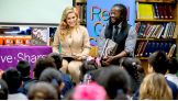 Kofi Kingston and Natalya host a Reading Celebration with Pearson Foundation at Blanton Elementary School in Austin, Texas.
