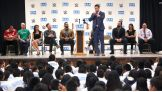 The Miz, Darren Young, Damien Mizdow, Layla and Stephanie McMahon visit Joseph George Middle School in San Jose, Calif., for a Be a STAR rally.