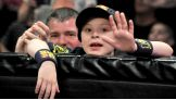 Logan waves to the WWE cameras while at Raw.
