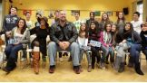 Big Show and Alicia Fox meet with students in Frankfurt, Germany, to talk about the importance of reading.