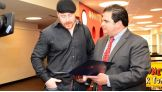 Sheamus is greeted by Everett, Mass., mayor Carlo DeMaria.