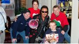 "Jonesboro Radio Group personalities ""Wild Bill,"" Christie Mathews, Trey Stafford and Jim Frigo pose with Kendle and the WWE Hall of Famer."