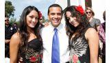 Nikki and Brie pose with L.A. mayor Antonio Villaraigosa.