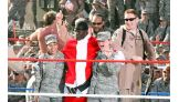 """""""Santa"""" Truth celebrates with the troops."""