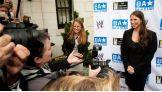 Stephanie McMahon talks to members of the media.