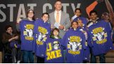 Kids from The Garden of Dreams Foundation meet John Cena at Madison Square Garden.