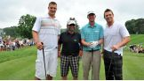 Before teeing off at the TPC River Highlands, The Miz poses with Rob Gronkowski, Joe Pesci and Vaughn Taylor.